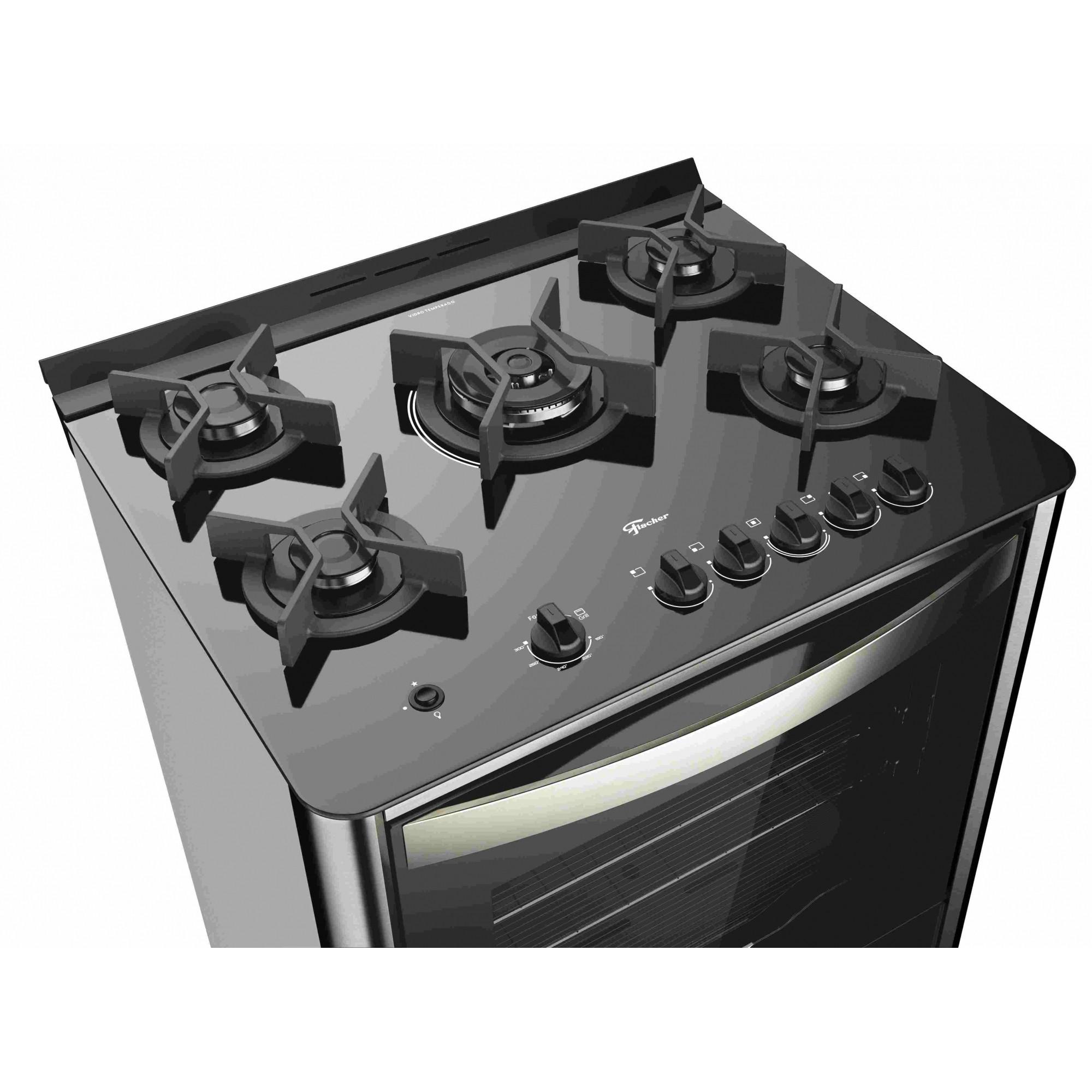 Fogão de Piso Fischer 5Q Gran Cheff Gás Inox com Grill - 26988