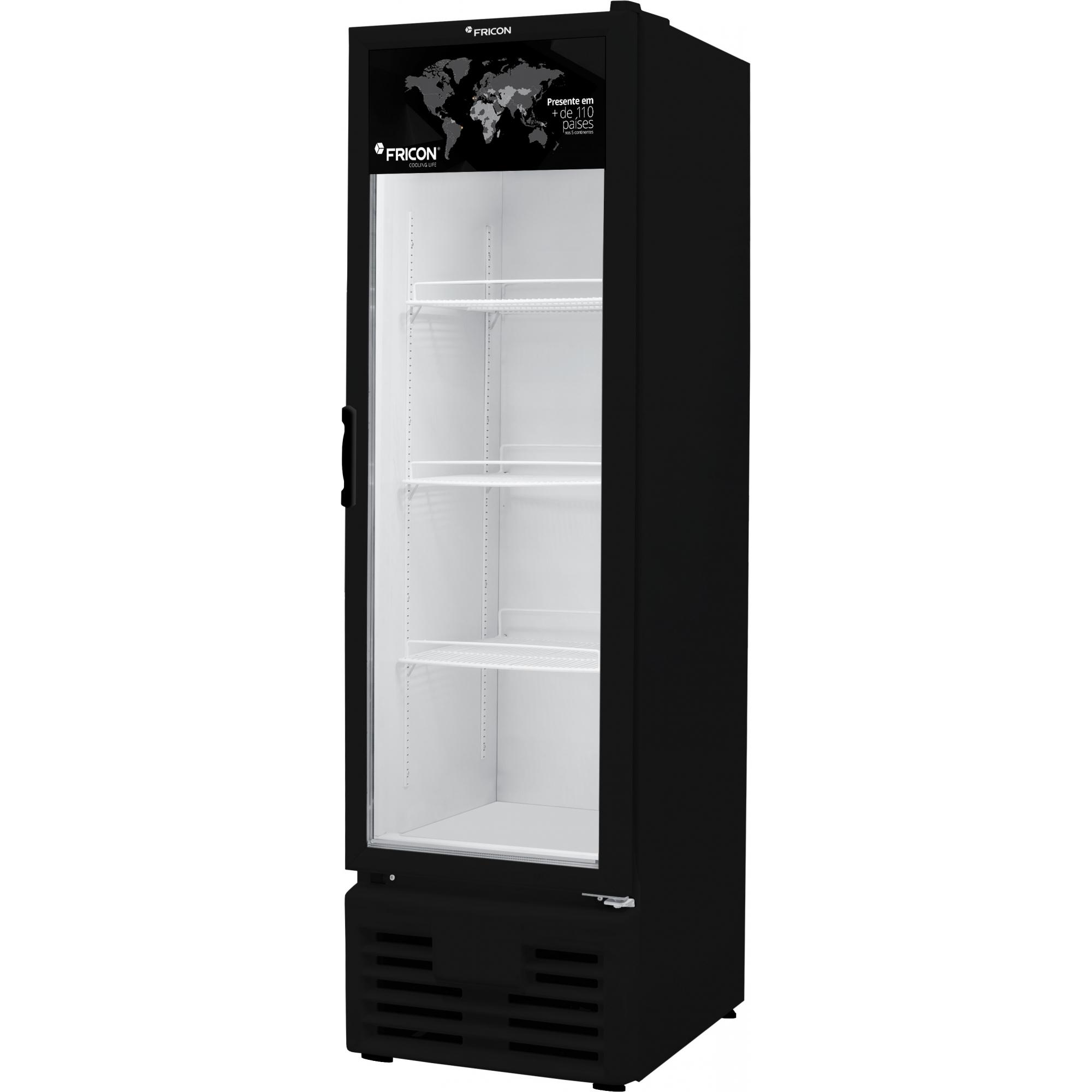 Freezer Vertical 284 Litros Porta de Vidro Preto Fricon - VCED284-2V001