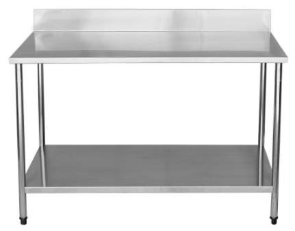 Mesa Total Inox 1,50mX45x0,90 com Submesa Lisa e Espelho