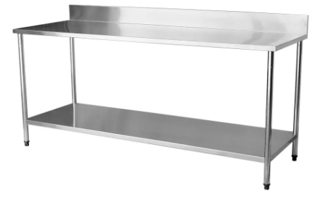 Mesa Total Inox 2,50 x 0,70 com Submesa e Espelho HGA INOX - MI2500X700SLESP