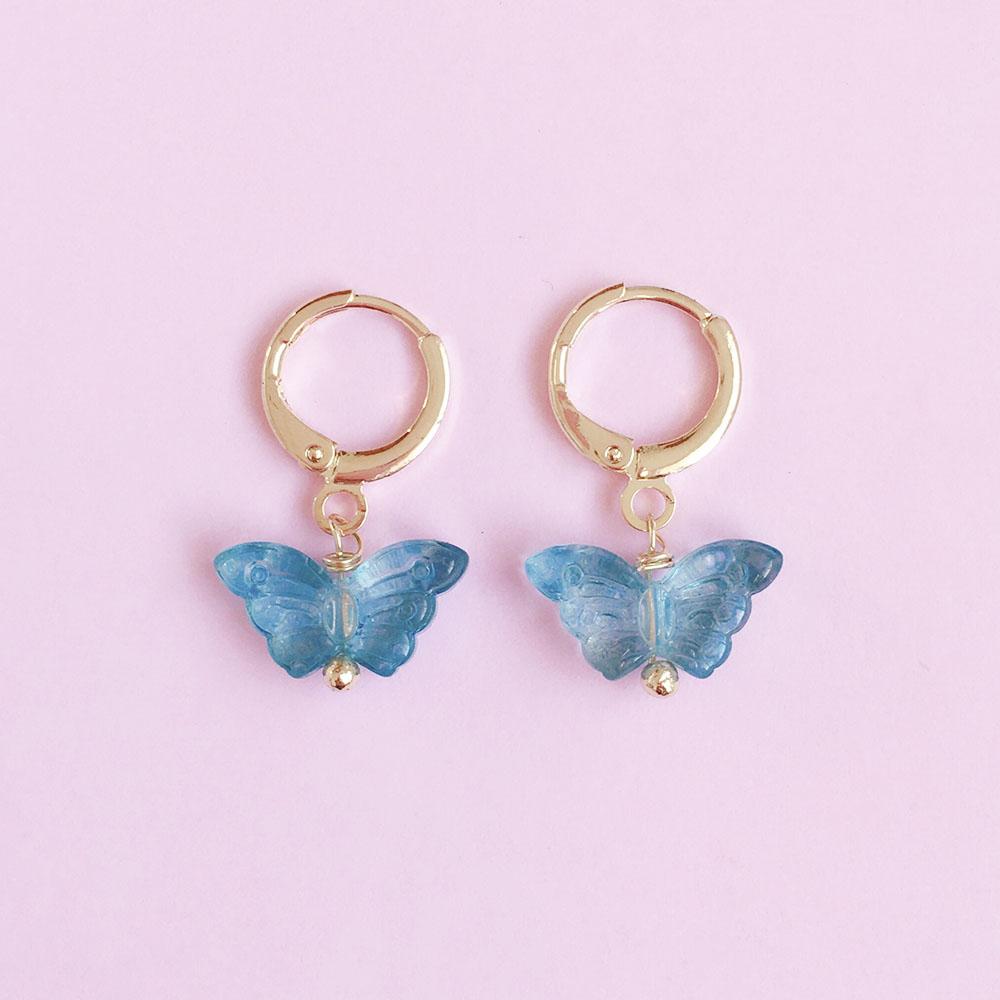 Argolinha de Borboleta Azul Folheada