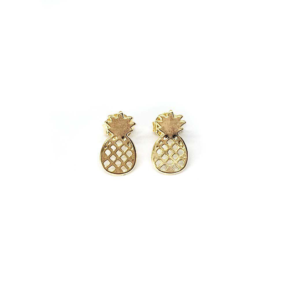 Brinco de Abacaxi Pequeno Dourado Folheado