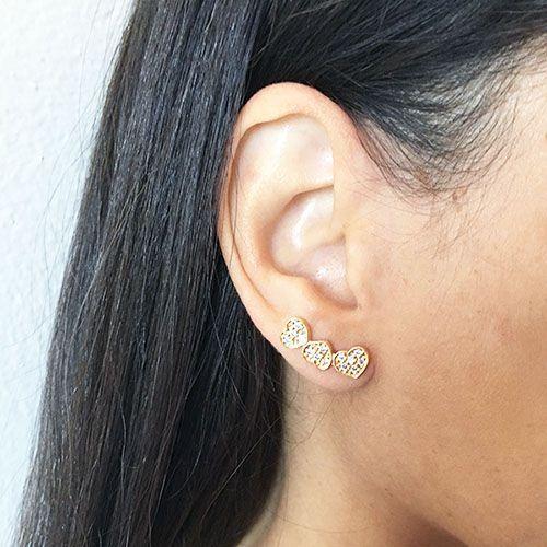 Brinco Ear Cuff Dourado Corações
