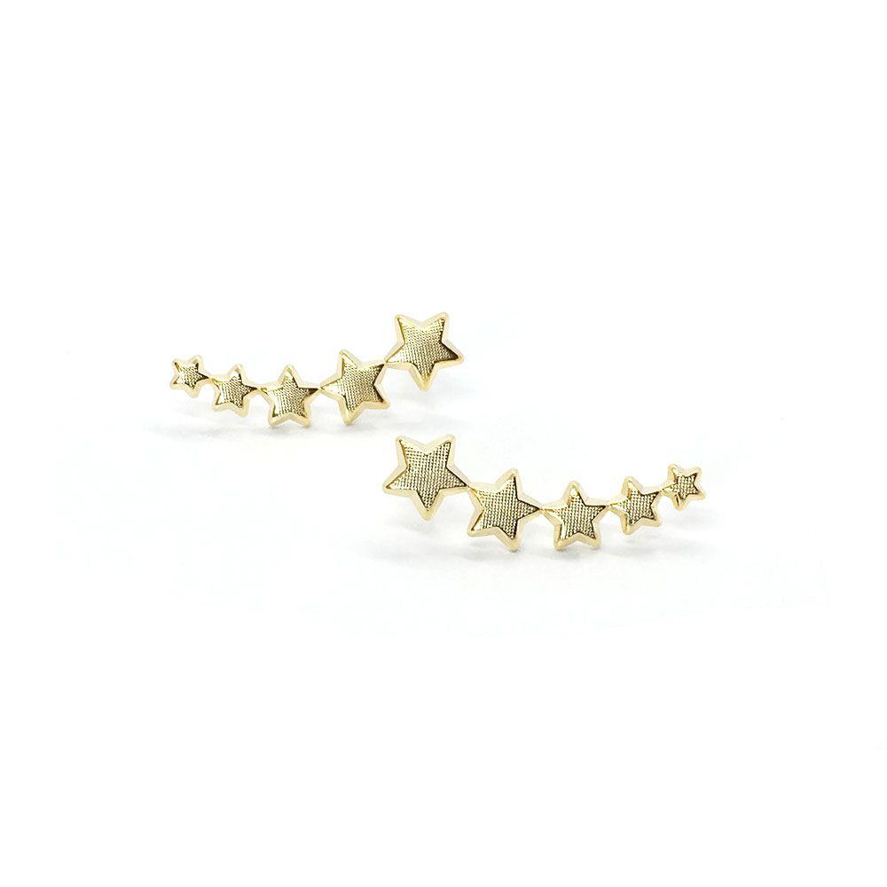 Brinco Ear Cuff Dourado Estrelas Folheado