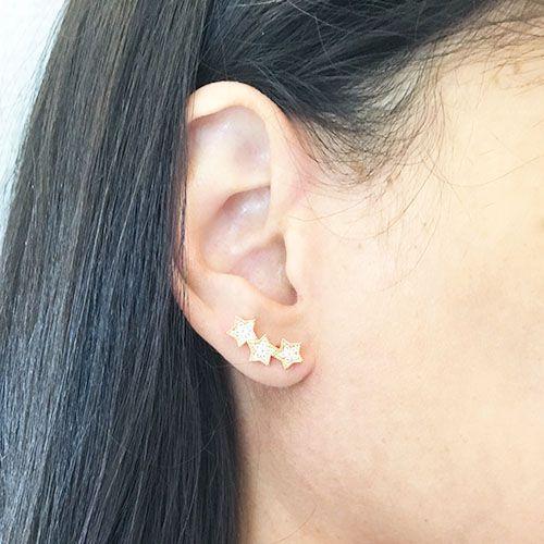 Brinco Ear Cuff Estrelas com Cristais Folheado