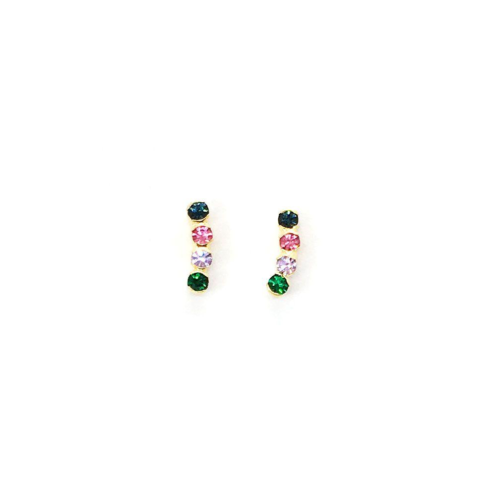 Brinco Ear Cuff Pequeno com Cristais Coloridos - Duas Cores