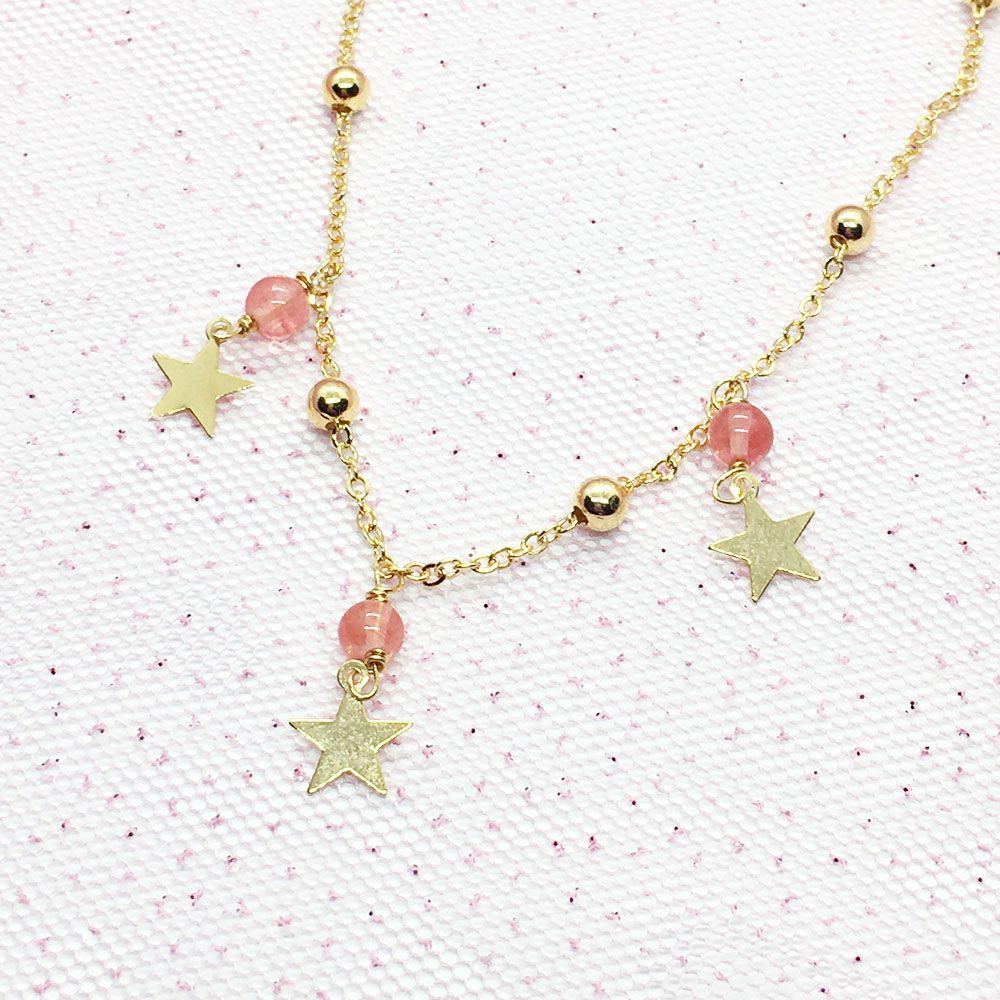Colar com Estrelas e Cristal Cherry