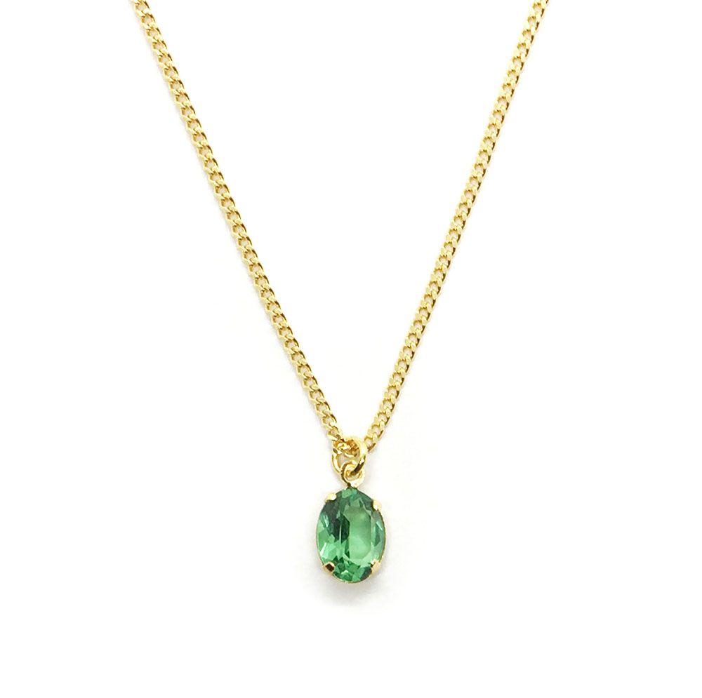 Colar com Pedra Verde Esmeralda Folheado