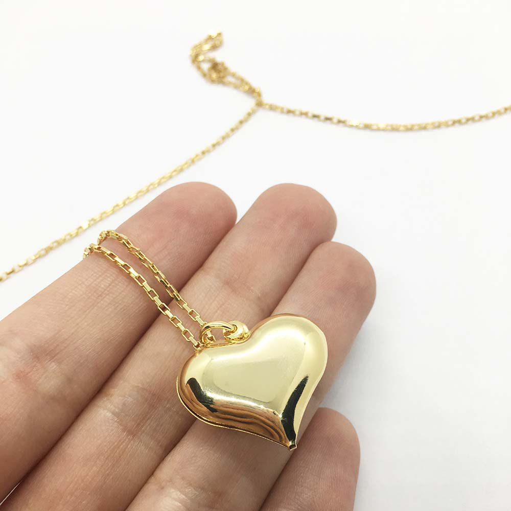 Colar com Pingente de Coração Folheado a Ouro