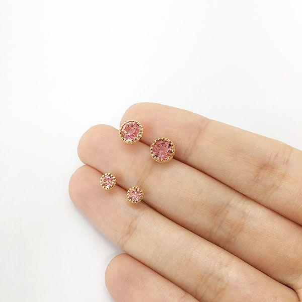 Kit de Brincos Pequenos Ponto de Luz Rosa Folheado
