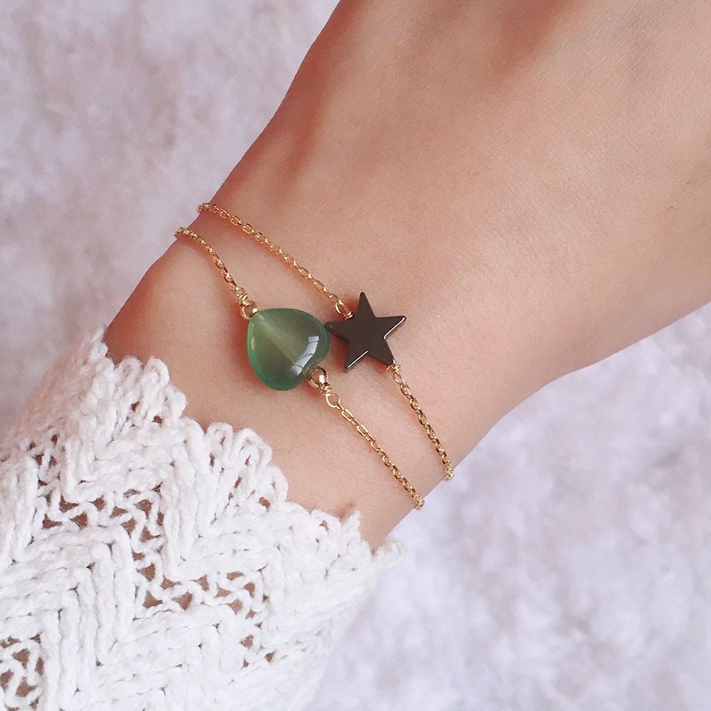 Pulseira com Coração de Jade Verde