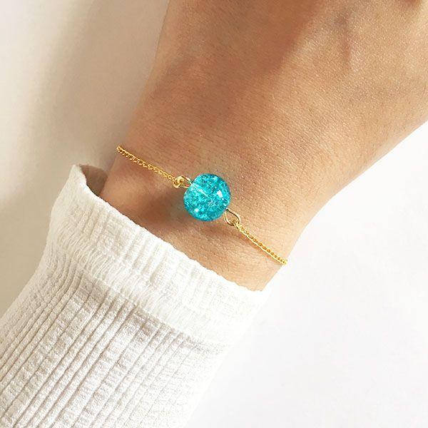 Pulseira Pedra Azul Folheada