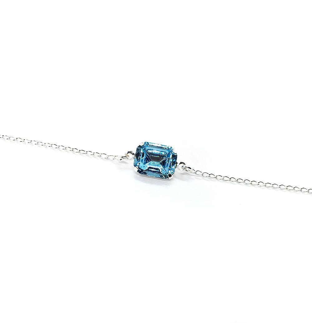 Pulseira Prata com Pedra Azul