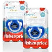 2 Chupetas Silicone Fisher Price Menino Tam 2 Glow Azul 6+m