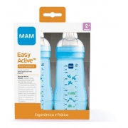 Kit 2 Mamadeiras Mam Easy Active 270ml 2+ Meses Azul Menino