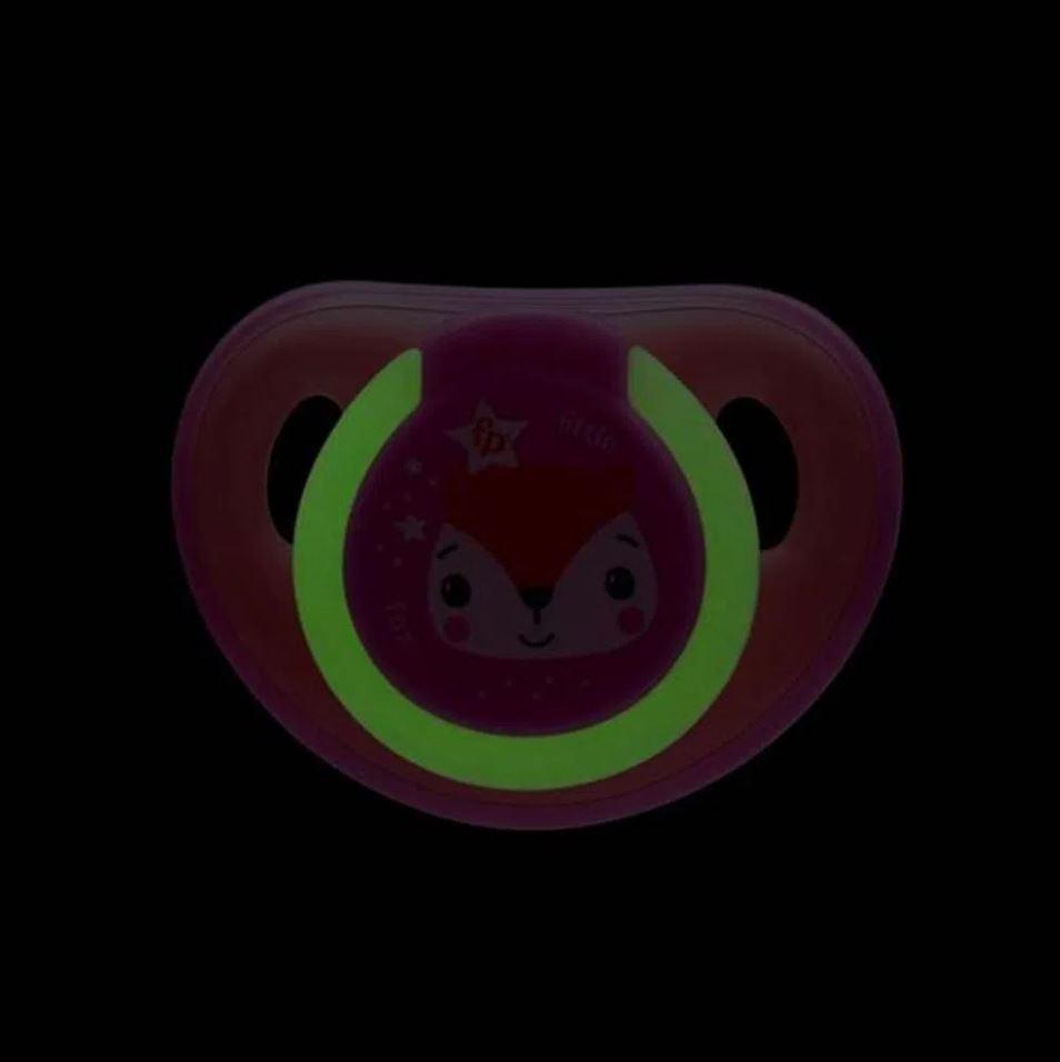 2 Chupetas Silicone Fisher Price Menina Tam 2 Glow Rosa 6+m