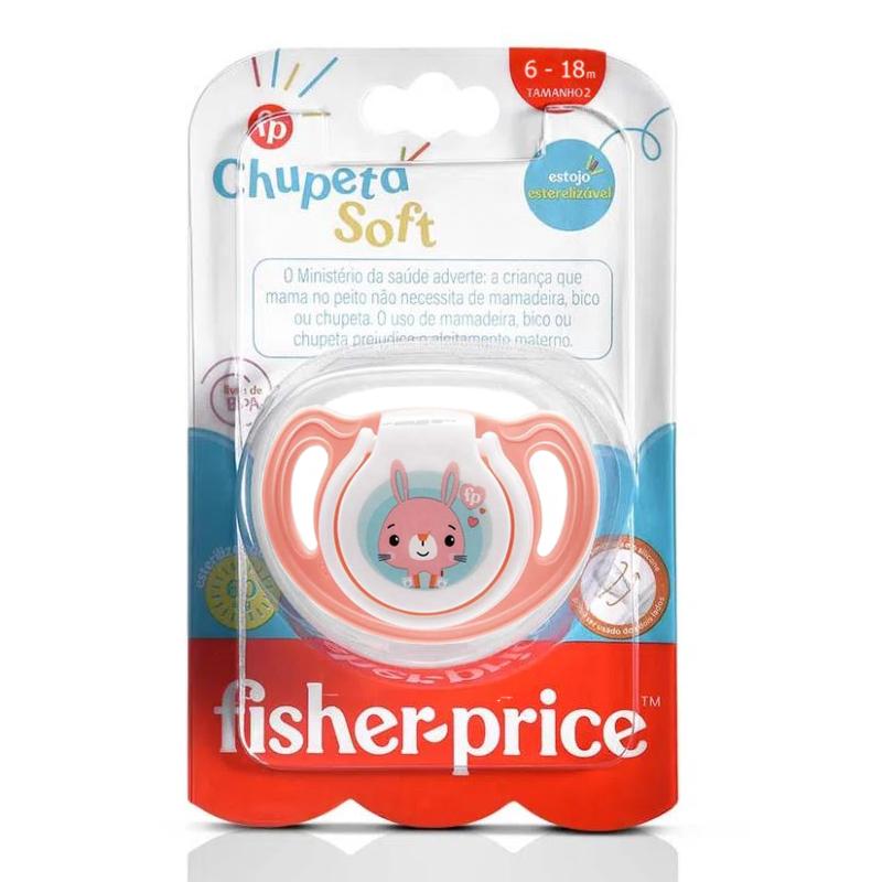 2 Chupetas Silicone Fisher Price Menina Tam 2 Soft Rosa 6+m