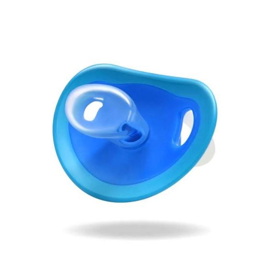 2 Chupetas Silicone Fisher Price Menino Tam 1 Glow Azul 0+m
