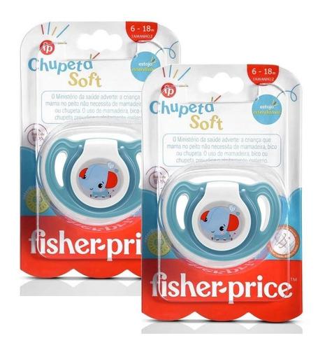 2 Chupetas Silicone Fisher Price Menino Tam 2 Soft Azul 6+m