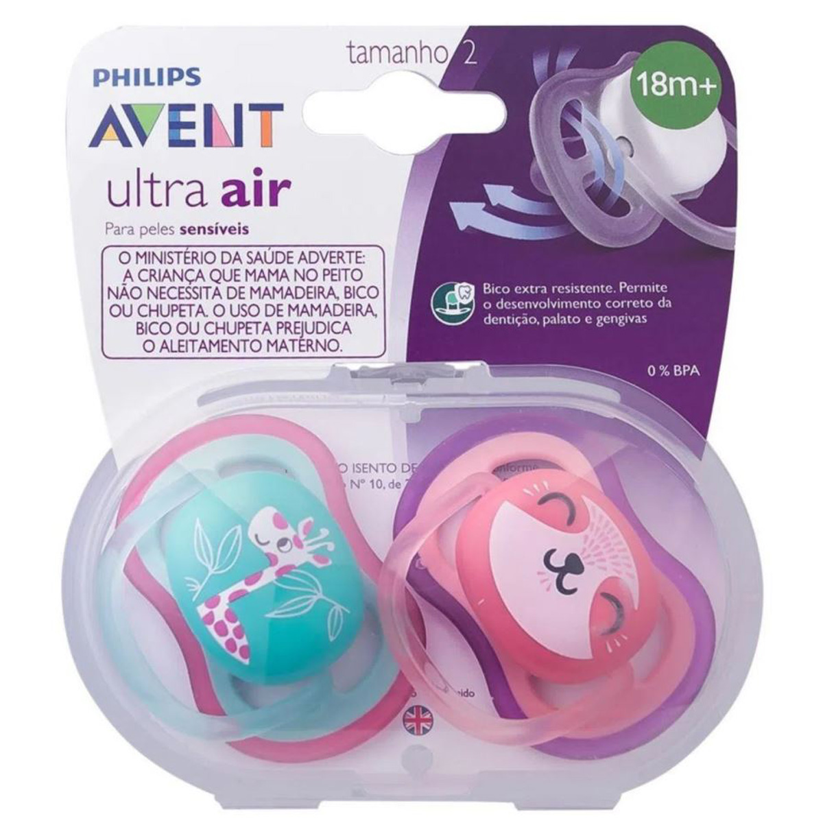 Chupeta Avent Menina Ultra Air Dupla Rosa Tamanho 2 18+ Mes