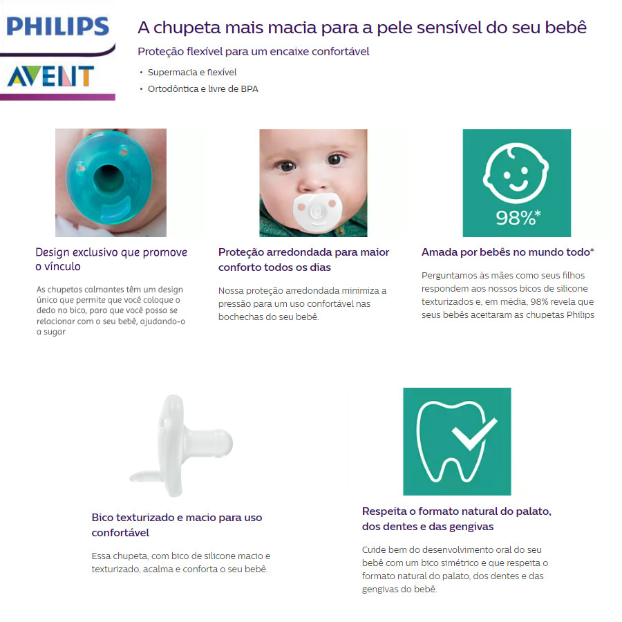 Chupeta Avent Soothie Calmante Ortodontica 0-3m Azul Menino