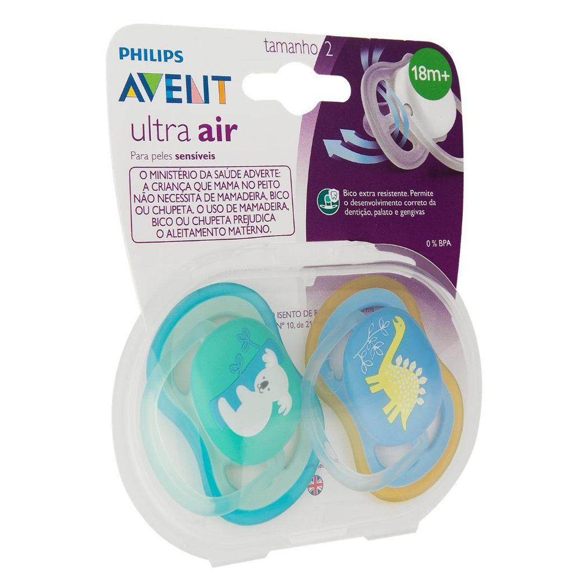 Chupeta Avent Ultra Air Dupla Azul E Verde Tamanho 2 18+ Mes
