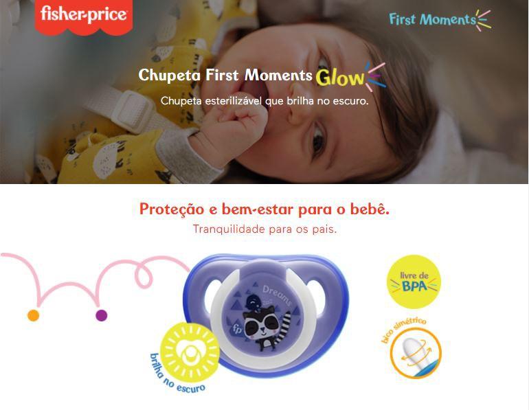 Chupeta First Moments Glow Tam 1 Azul Com Case Fisher Price