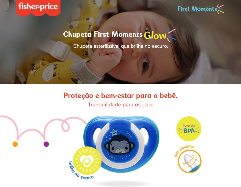 Chupeta First Moments Glow Tam 2 Azul Com Case Fisher Price