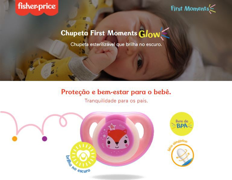 Chupeta First Moments Glow Tam 2 Rosa Com Case Fisher Price