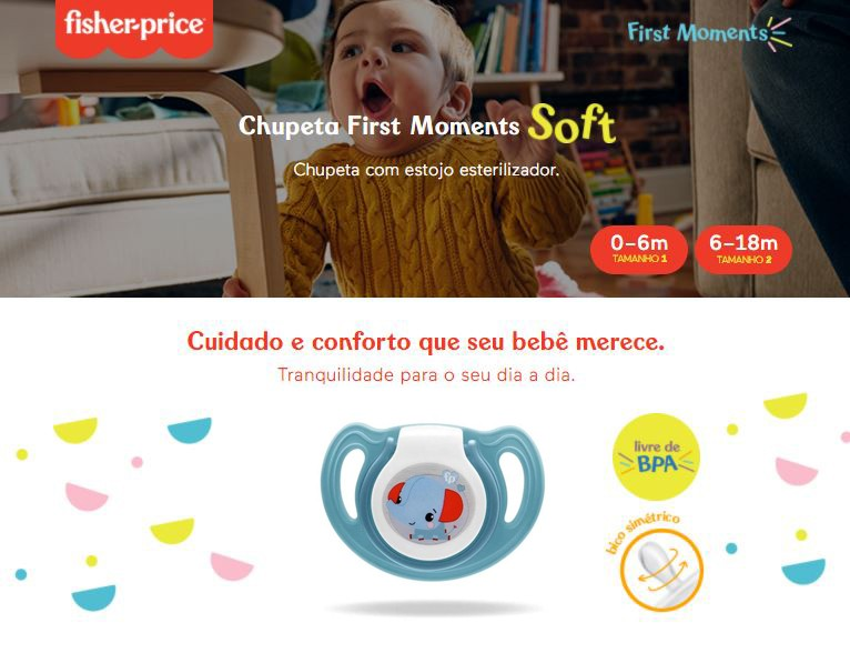 Chupeta First Moments Soft Tam 2 Azul Com Case Fisher Price
