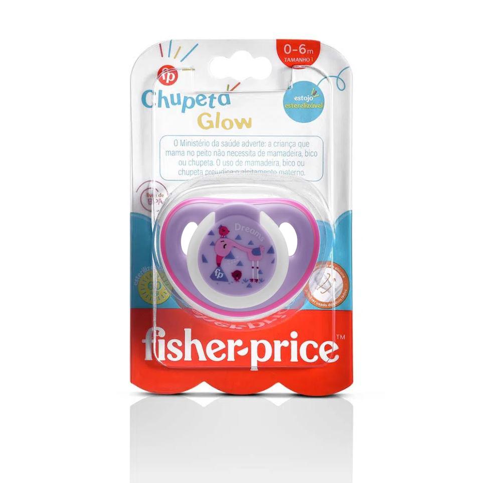 Chupeta Que Brilha No Escuro Fisher Price Tam 1 Rosa 0+m