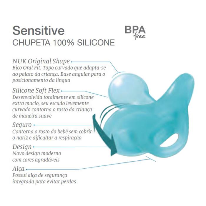 2 Chupeta Silicone Menino Nuk Sensitive Soft Azul/verde 6+m