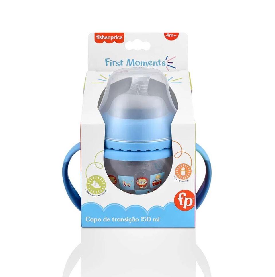 Copo Transição First Moments 150ml Azul Fisher Price + Bico