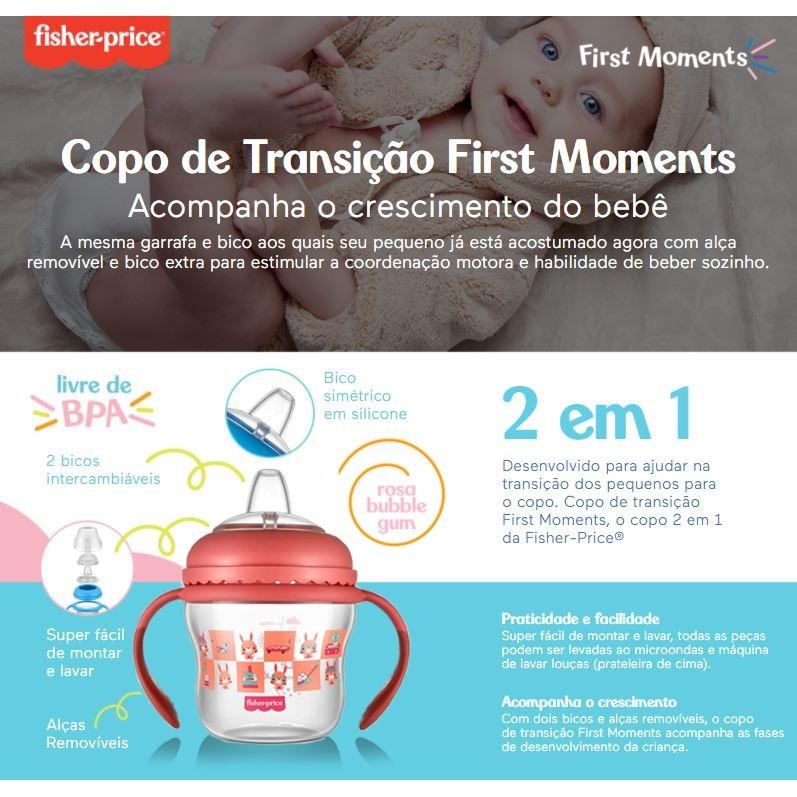 Copo Transição First Moments 150ml Rosa Fisher Price + Bico