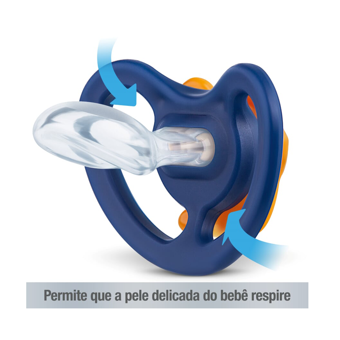 Kit 2 Chupetas Nuk Space Silicone Tamanho 2 6+meses Azul