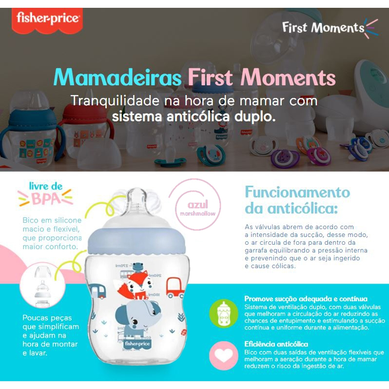 Kit 2 Mamadeira First Moments 270ml Fisher Price Azul Menino