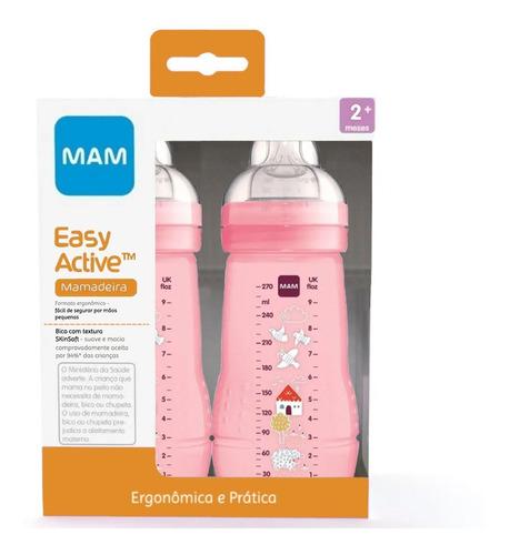Kit 2 Mamadeiras Mam Easy Active 270ml 2+ Meses Rosa Menina