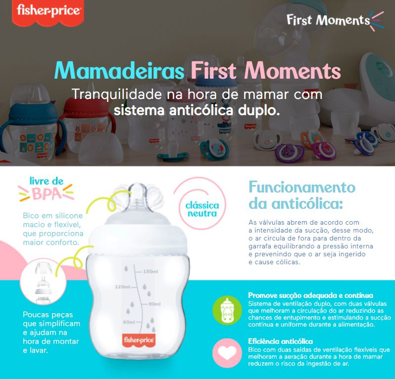 Kit 3 Mamadeiras First Moments 150/270/330ml Fisher Price Azul