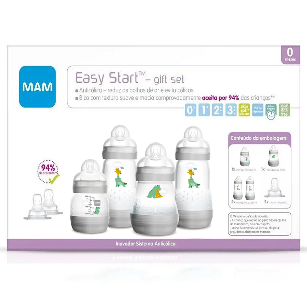 Kit 4 Mamadeira Mam + 2 Bicos Easy Start Gift Set 0+ M Cinza