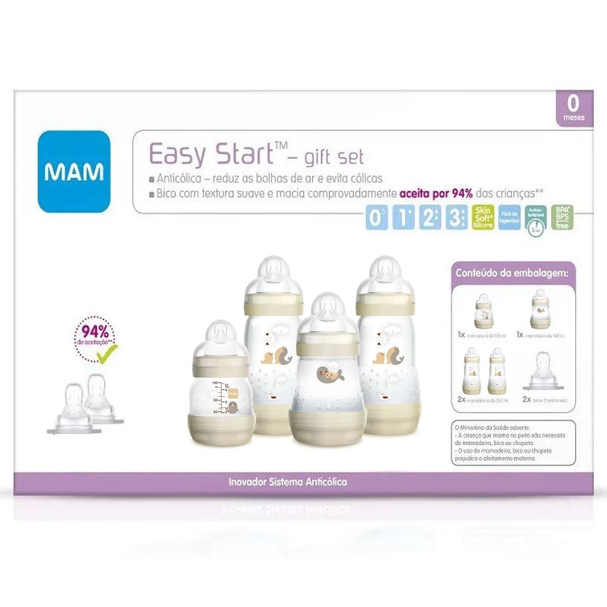 Kit 4 Mamadeira Mam + 2 Bicos Easy Start Gift Set 0+m Neutra