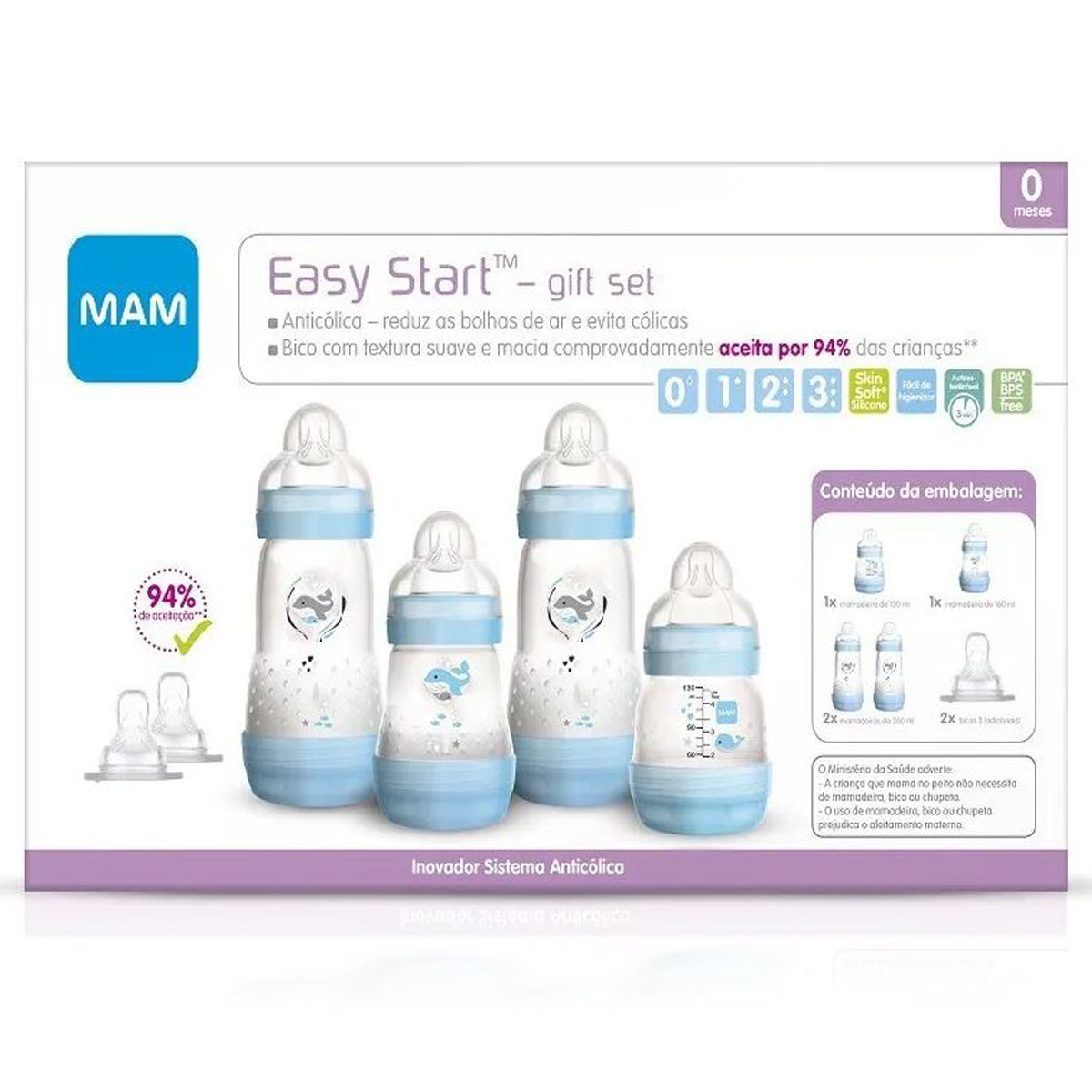 Kit 4 Mamadeira Mam + 2 Bicos Easy Start Gift Set 0+ mes Azul