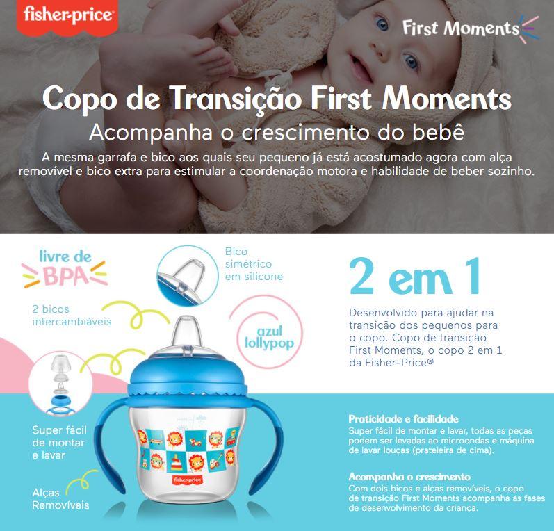 Kit Mamadeira + Copo Transição Fisher Price Azul Menino 2+m