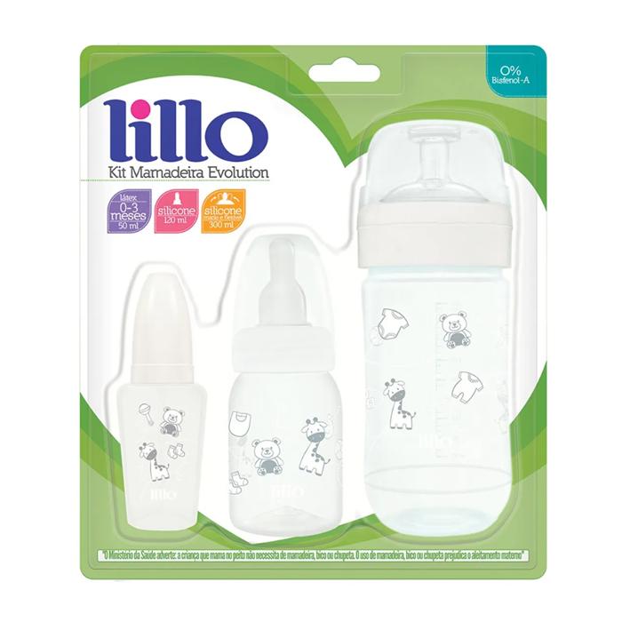 Kit Mamadeira Lillo Evolution Antivazamento Branco 0+ meses