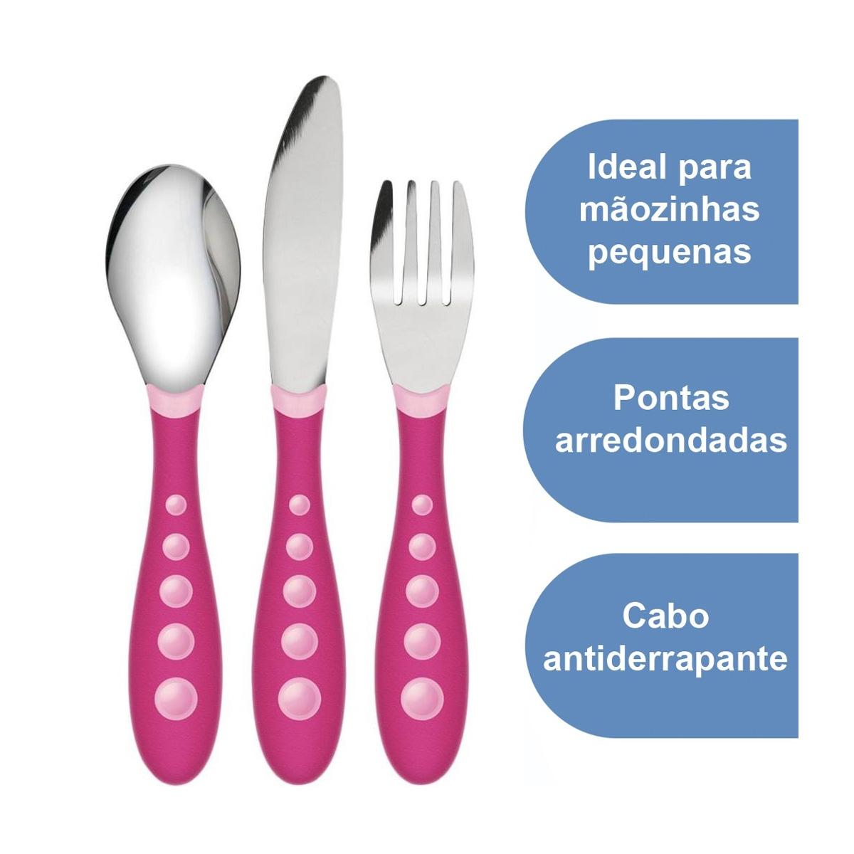 Kit Talheres Inox Bebe Nuk 18+ Meses Rosa Antiderrapante