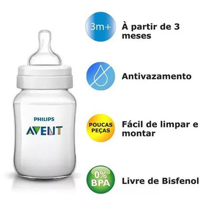 Mamadeira Avent Anticólica 3+ Meses 330ml Classic Neutra 2un