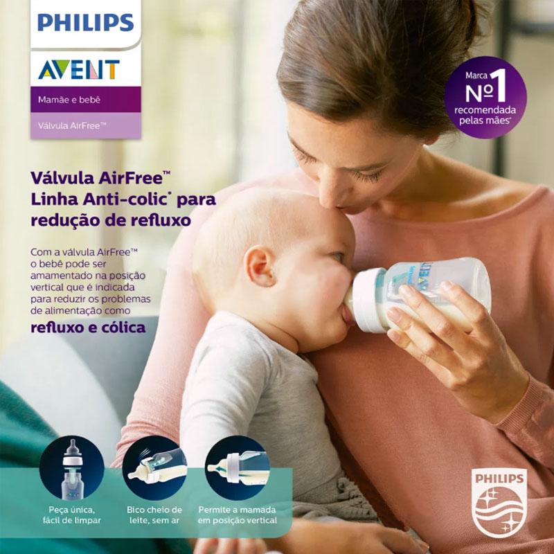 Mamadeira Avent Anticólica Airfree 1+ Mes 260ml Classic