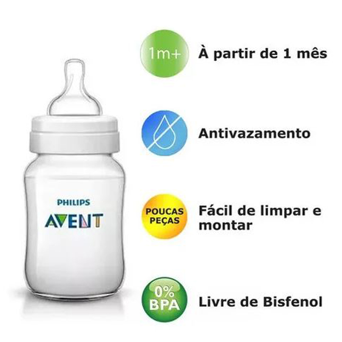 Mamadeira Avent Classic Anticólica 125/260/330ml 0+ Meses