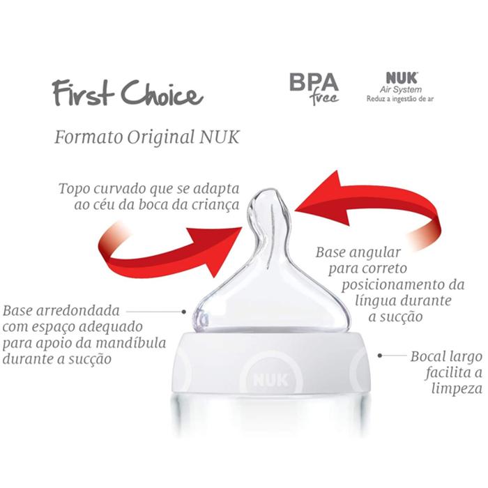 Mamadeira Chuquinha Recém Nascido First Choice 90ml Nuk