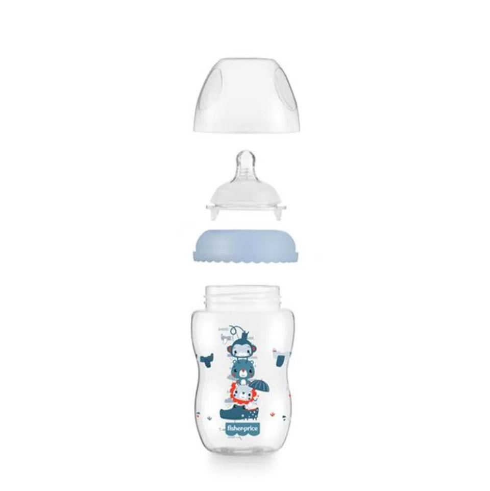 Mamadeira First Moments Clássica Azul 330ml Fisher Price