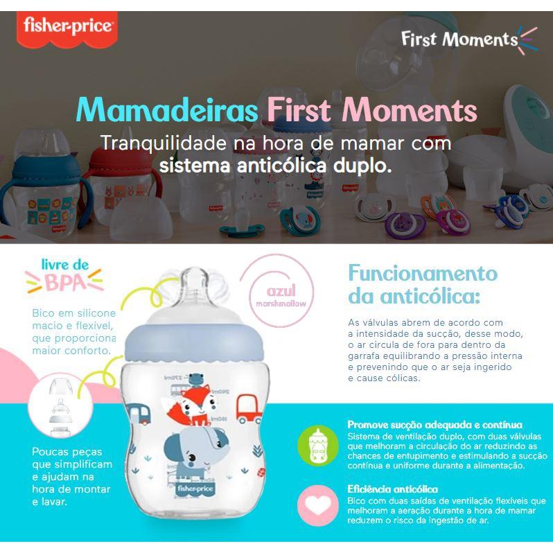 Mamadeira Fisher Price Menino Azul 0+/2+/4+mes 150/270/330ml Anti Colica